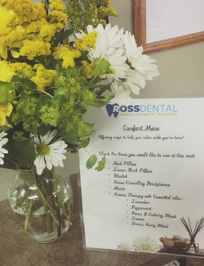 Cosmetic dentist office comfort menu
